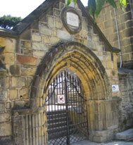 Romanesque and Gothic Doorways of cemetery in Pasai San Pedro